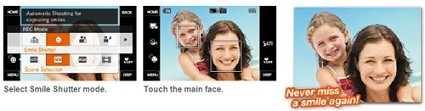 Fotocamere con sistema Smile Shot di riconoscimento automatico del sorriso: Sony Cybershot DSC T70 e T200 e Olympus SP 560UZ